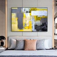 Estilo moderno pintura abstrata amarelo cinza e branco quadros da lona impressão cartazes arte da parede para sala de estar decoração