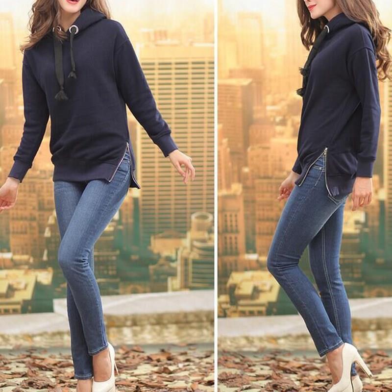 Nice Autumn Women Solid Hooded Casual Hoodie Long Sleeve Split Loose Pullover Female Zipper Plus Size Sweatshirts