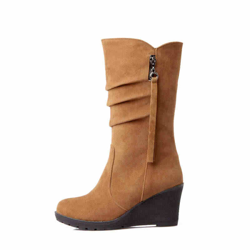 Odetina kadınlar yeni Slouch Boots orta takozlar topuk Fringe orta buzağı çizmeler bayanlar üzerinde kayma kış yan fermuar rahat yuvarlak ayak pilili
