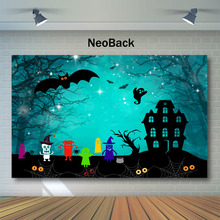 NeoBack Halloween Forest Old Trees Backdrop Ghost Specter Black Castle Photography Background Child Night Backdrops