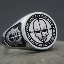 Sniper Rifle One Shot One Kill Army Special Force Military Genuine 925 Sterling Silver Ring