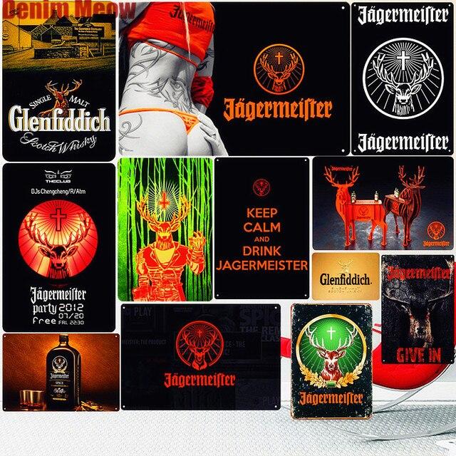 Jagermeister винтажная металлическая жестяная вывеска, украшение для паба, бара, олень, пивная рекламная тарелка, ликер, пивная настенная наклейк...