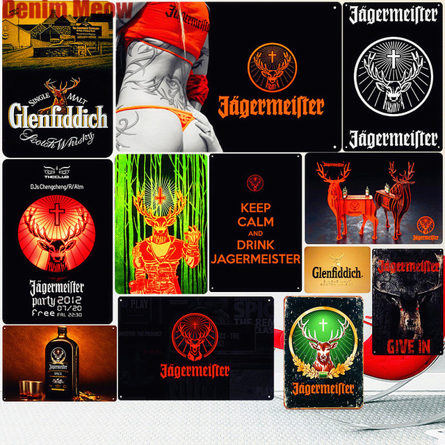Jagermeister винтажные металлические жестяные знак Паб Бар украшения Олень пиво рекламная пластина ликер пиво стены Стикеры домашний декор N276