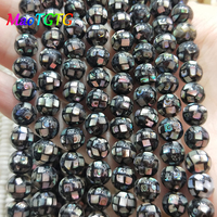 Natural Abalone Shell Round Beads For Jewelry Making Necklace Bracelet 8mm Mosaic Ball Round Shell Loose Beads Jewelry Making