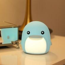 LED Dolphin USB Nightlight Cute Cartoon Silicone Seven Color Nightlight Children's Bedroom Decoration Gift Remote Control