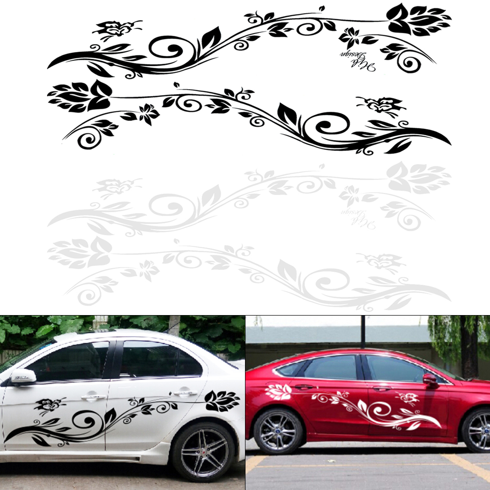 180CM PVC 2 Colors Butterfly Love Flower Totem Personality Car Racing Waist Line Mudguard Body Side Body Sticker in Car Stickers from Automobiles Motorcycles