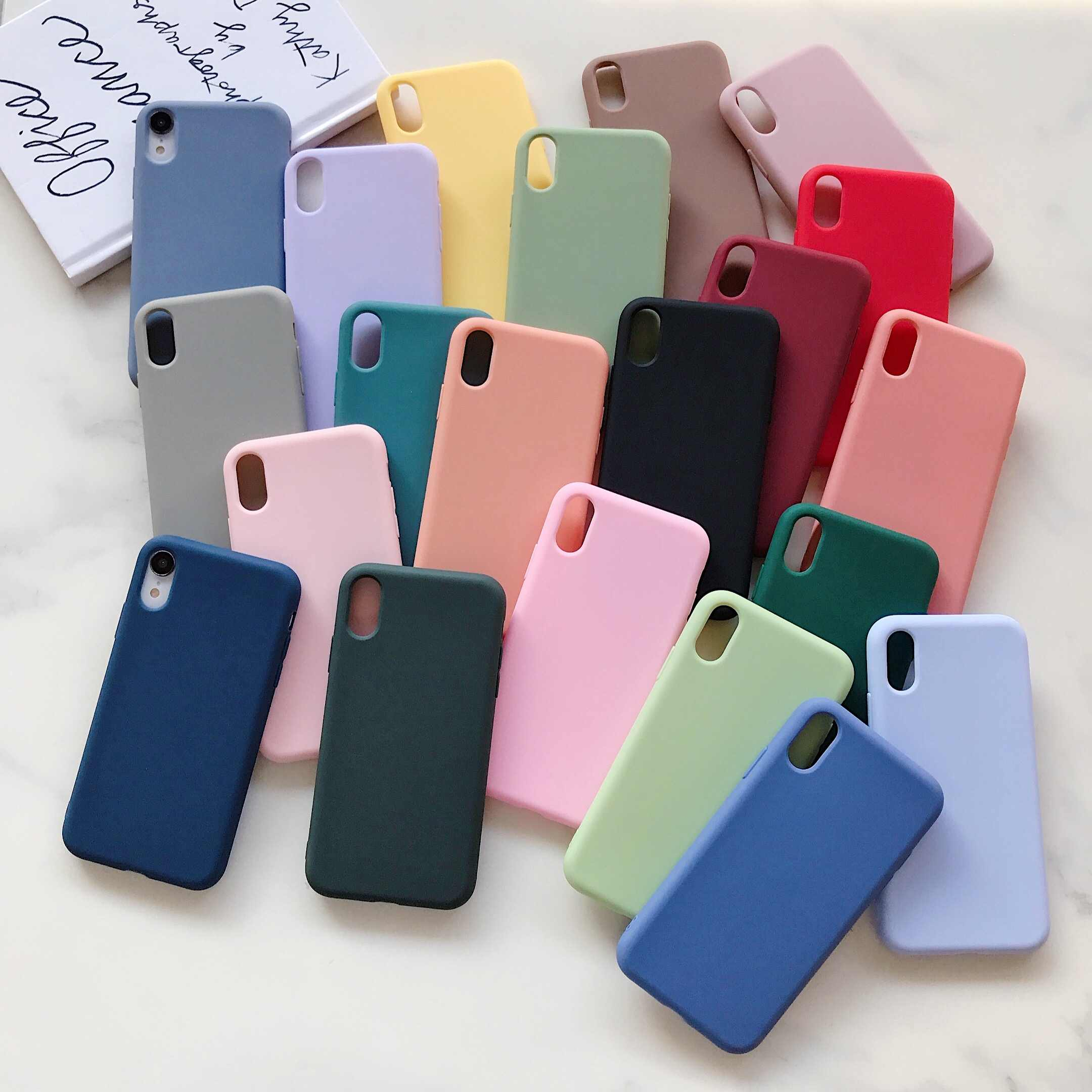 Voor iPhone 7 Case Candy Effen Kleur Zacht 1.5mm Siliconen Cover voor iPhone X 11 Pro Max XR Case 6 6S 7 8 Plus 6 XS MAX Coque