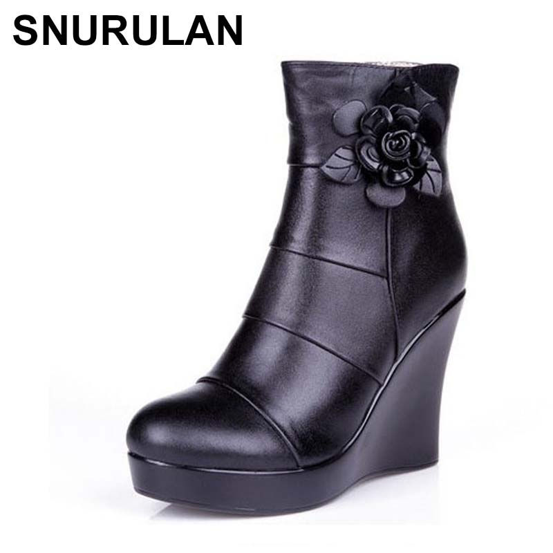 SNURULAN 2019 genuine leather, autumn and winter boots, women's ankle boots, women wedges, women's boots, platform shoes