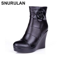 SNURULAN 2019 genuine leather, autumn and winter boots, women's ankle boots, women wedges, women's boots, platform shoes