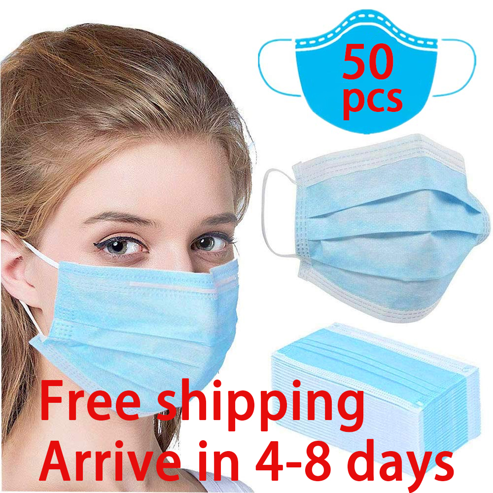 50 Pcs Disposable Mask Virus Nonwove 3 Layer Ply Filter Mouth Face Mask Dust Meltblown Mouth Masks Antivirus 5-8 Days To Arrive