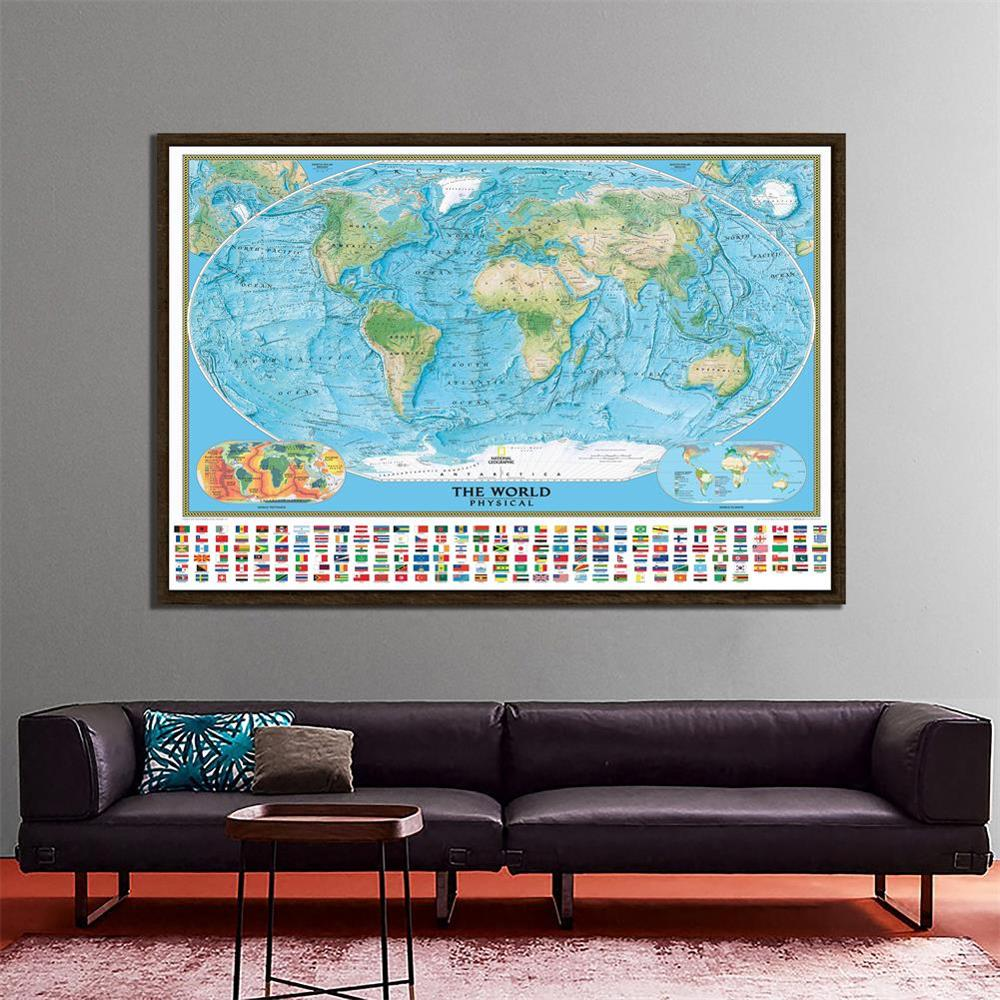 The World Physical Map With National Flags Non-woven Waterproof Map With World Climate And Tectonics