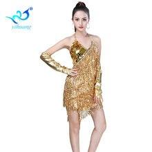 Женское платье для латиноамериканских танцев блестящее с бахромой
