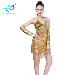 Image 1 - Shining Sequin ชุดเต้นรำละตินผู้หญิง Fringe พู่เต้นรำประสิทธิภาพเครื่องแต่งกาย Tango ชุด танцевальные платья