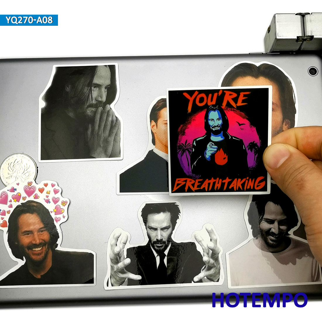 8pcs Super Handsome Star Keanu Charles Reeves Fashion Artist Stickers For Mobile Phone Laptop Suitcase Skateboard Decal Stickers