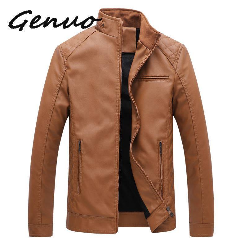 Genuo New Brand Men Leather Suede Jackets Autumn Winter PU Clothing Male Casual Coats