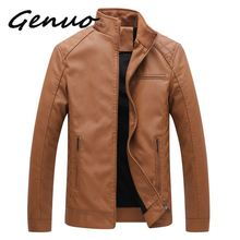 Genuo New Brand Men Leather Suede Jackets Autumn Winter Men PU Leather Jackets Clothing Male Casual Leather Jackets Coats цена