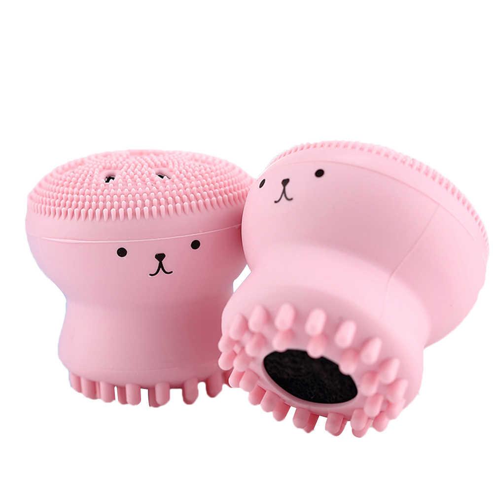 1 Pcs Rosa Cartoon Gesicht Reinigung Pinsel Silikon Gesichts Poren Peeling Peeling Waschen Pinsel Hautpflege Kleine Krake Form