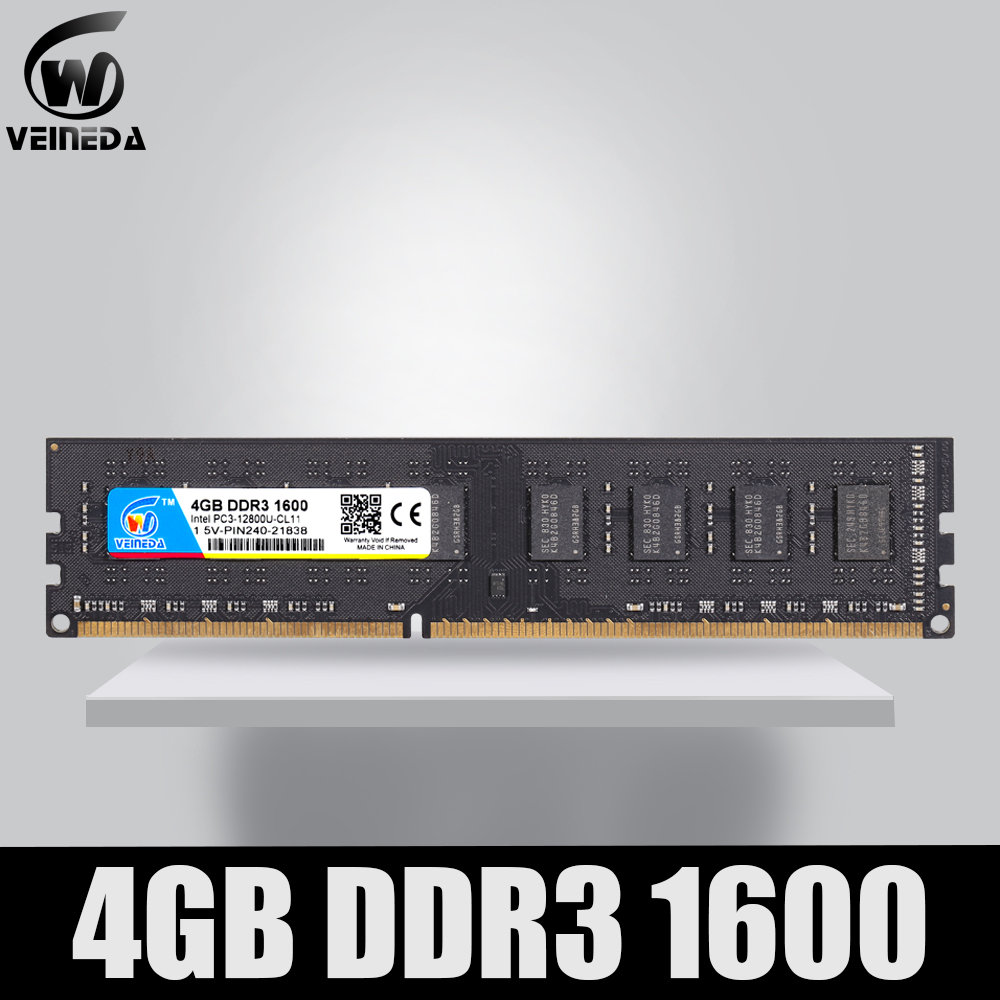 VEINEDA DDR3 4 gb 1600Mhz Dimm Ram Compatível 1333 1066 ddr Memoria 3 4 gb PC3-12800 240pin para Todos AMD Intel Desktop