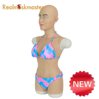 Realmaskmaster whole body suits with Mia mask silicone breast forms body suits for crossdresser shemale drag queen