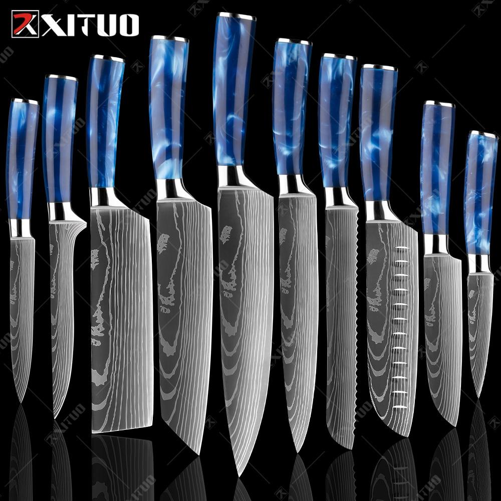 XITUO Pro Kitchen Knife Set Imitation Damascus Laser Chef Knife Blue Resin Handle Fruit Santoku Meat Slicer Cooking Tools
