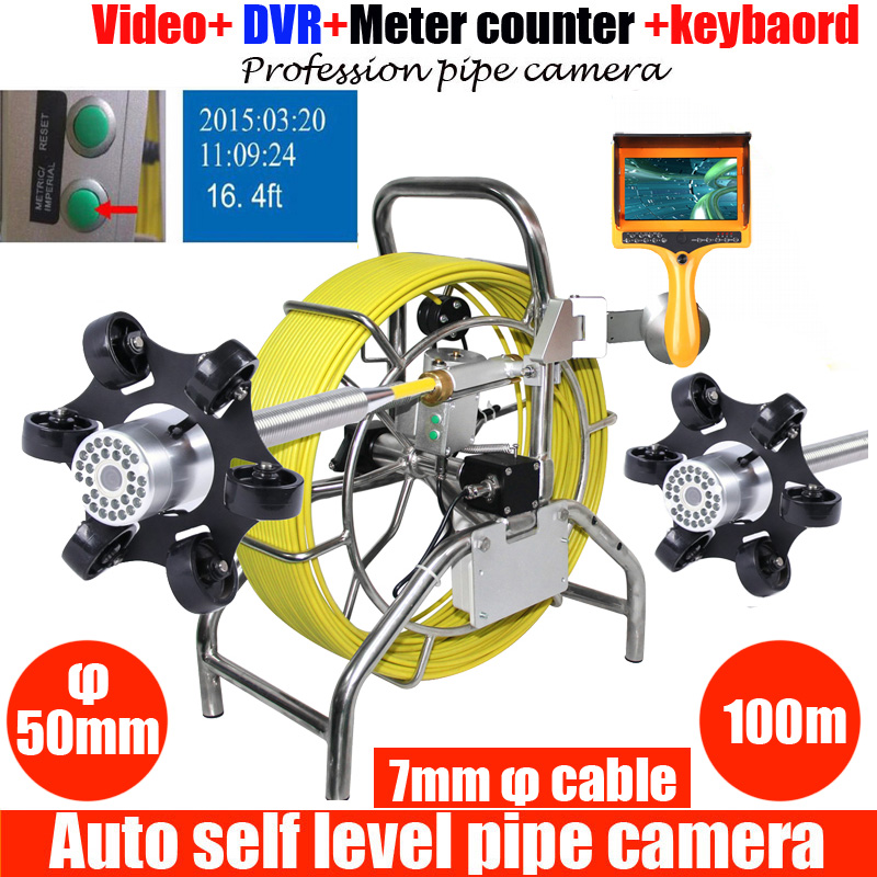 50mm Auto Self Levelling DVR Sewer Pipe Inspection Camera System Water Pipe Well Camera System With Meter Counter 100m Cable