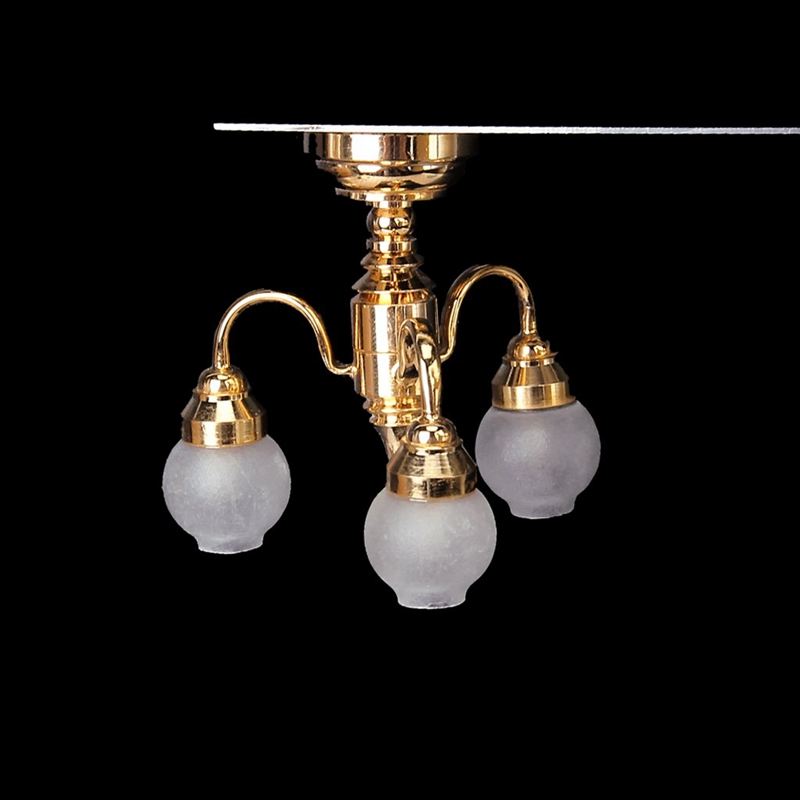 <font><b>1</b></font>:<font><b>12</b></font> Dollhouse Brass Chandelier 3 arm Lamp LED Ceiling Lamp Glass Shade image