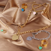 Stainless Steel Necklaces For Women Gold Heart Pendant Necklaces Thick Chain Charms Necklace Geometric Design Necklaces Jewelry