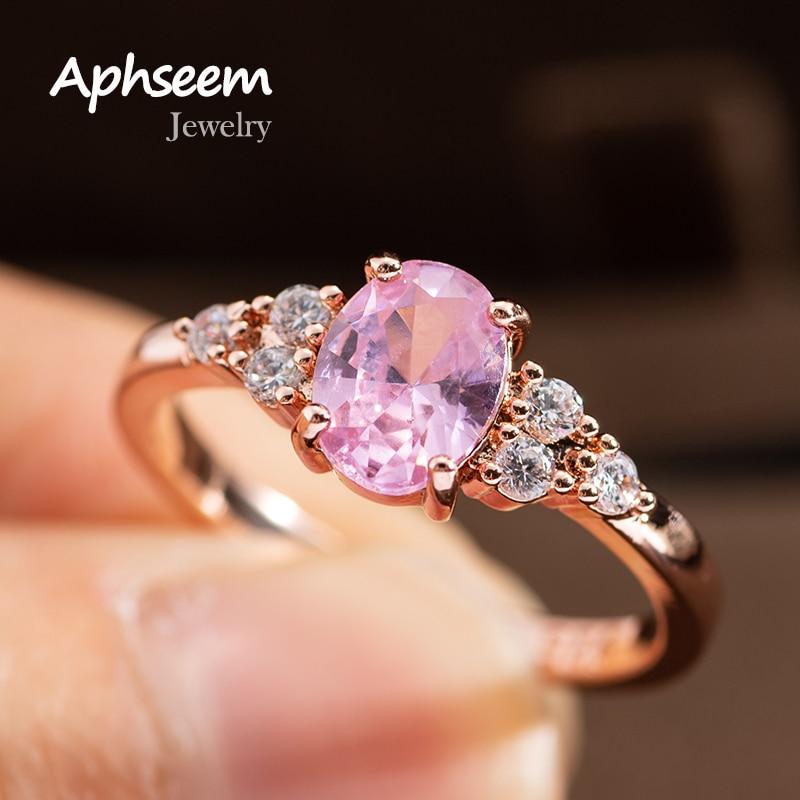 Модные обручальные кольца с овальным розовым Цирконом для женщин, женские Элегантные Простые изысканкольное кольцо, обручальное кольцо, по...