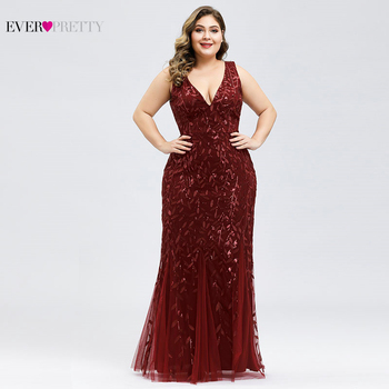 Elegant Plus Size Prom Dresses Long Ever Pretty Robe De Soiree Mermaid V Neck Sequined Wedding Party Gowns Vestidos De Fiesta 2