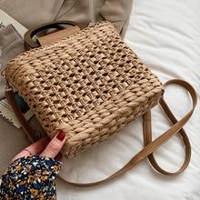 2021 Summer Ladies Straw Woven Messenger Bag Hand-woven Shoulder Bag Beach Bag Fashionable One Shoulder Messenger Bag Handbag