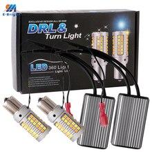 1Set 1156 P21W BA15S PY21W BAU15S 3156 7440 W21W 3030 오류 없음 LED Canbus 자동차 DRL 방향 지시등 12V DC 스위치 백 이중 색상