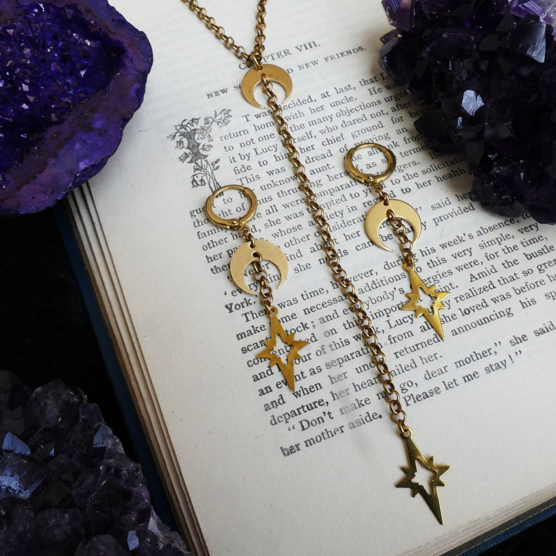 Witchy Necklace Set Brass Moon & Stars Necklace Modern Witch Style Moon Child Gifts Wiccan Gifts Modern Witch Necklace Moon Gift