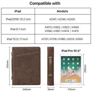 Image 5 - עור אמיתי תיקיית B5 קלסר Padfolio תיק רוכסן כתיבת מסמכים ופנקס מקרה עבור iPad פרו 10.5 10.2 11 אוויר 2