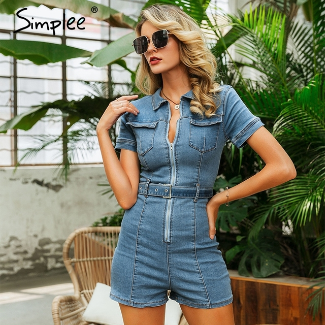 Simplee Sexy deep v-neck denim women playsuit Short sleeve belt zipper short jumpsuit Chic party club ladies jeans overalls 2019 2
