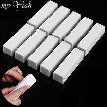 10 Pçs/set Branco Nail Art Buffer Do Bloco de Lixamento Da Esponja de Moagem De Polimento De Unha Lixas de Unha Manicure Pedicure Ferramenta DIY Casa