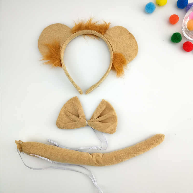 Animal Ear Lion Headband Cosplay Props Birthday Theme Party Carnival  Anime Cosplay Halloween Costume for Kids Adult Christmas