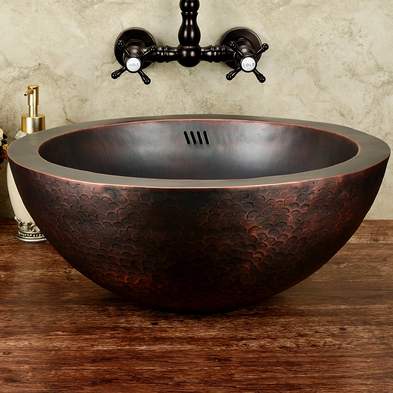 European Style Garden Antique Copper Basin Bathroom Sink Wash Basin Bronze Copper Sink Basin Brass Counter Basin