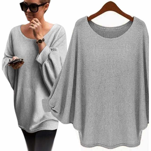 5 # 새로운 가을 여성 대형 Batwing 니트 풀오버 느슨한 스웨터 플러스 크기 여성 오 넥 긴 소매 스웨터 Mujer