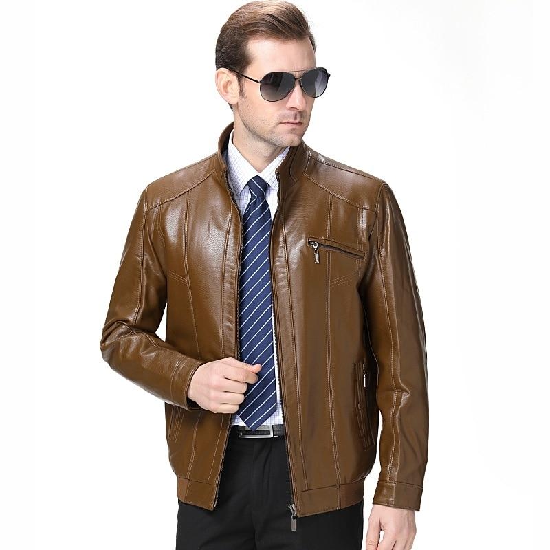 2019 Autumn And Winter New Style MEN'S Leather Coat Men'S Wear Business Casual Plus Velvet Leather Coat 1212