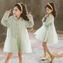 2020 Children Teens Boutique Peter Pan Collar Clothing Green Cotton Plaid