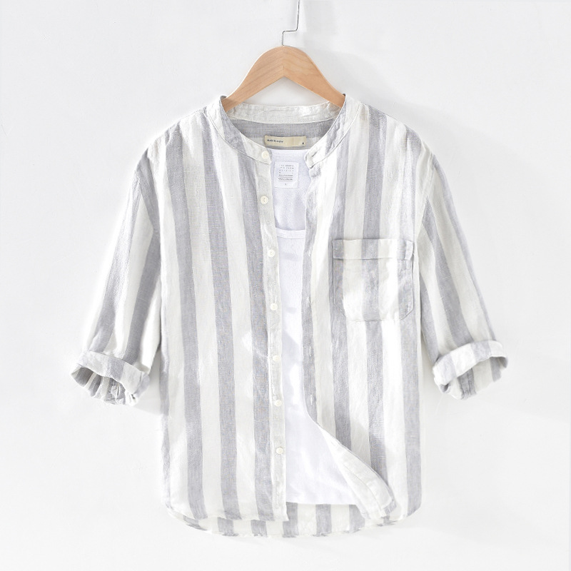 Men Spring Summer Fashion Japan Style Stand Collar Three Quarter Sleeve Stripe Shirt Male High Quality 100% Linen Casual Shirts