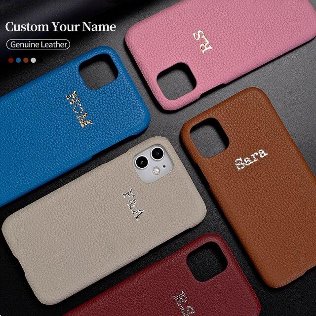 Custom פבל גרגרים עור אמיתי יוקרה זהב ראשוני שם טלפון Case כיסוי עבור iPhone 12 11 פרו מקסימום X XS XR מקסימום 8 7 בתוספת 8 בתוספת