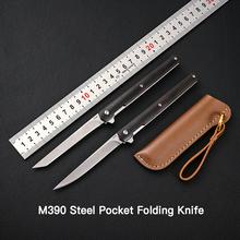 M390 stalowy nóż odwróć kieszonkowy składany ostrze noża przenośny uchwyt z litego drewna odkryty polowe noże myśliwskie krojenie noże do owoców tanie tanio Vastar Maszyny do obróbki drewna WOOD STAINLESS STEEL Hunting Knife Składany nóż About 80g Leather Knife Camping Outdoor Travel Home