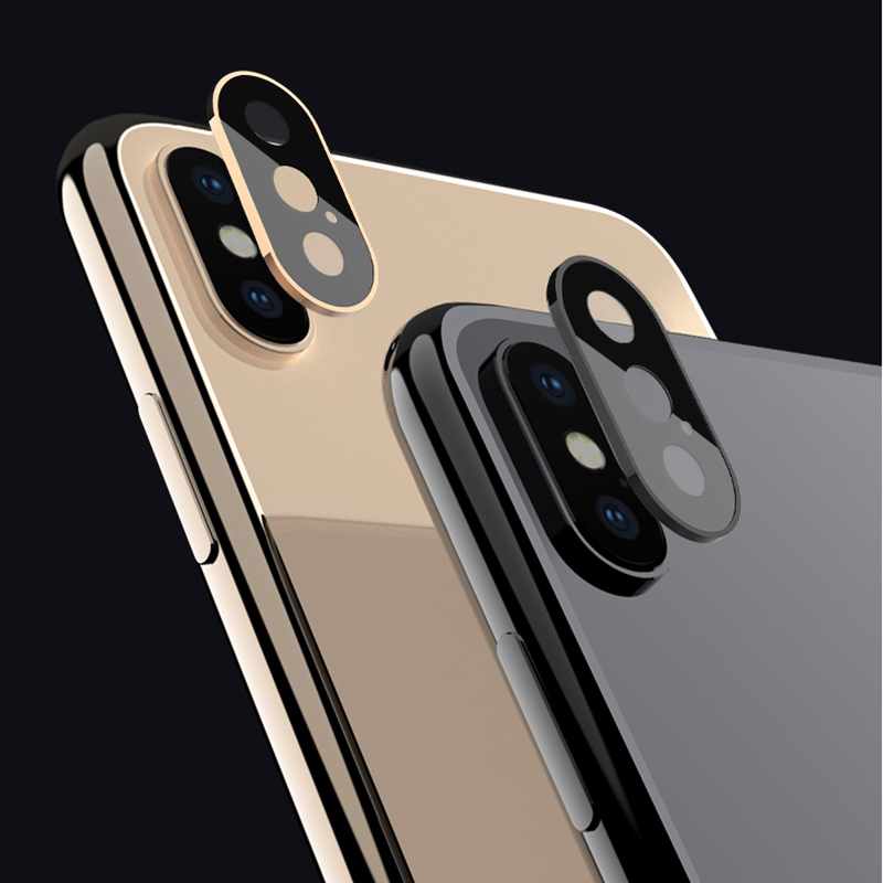 For IPhone X XS XSMax Rear Camera Lens Protector Tempered Glass With Metal Frame Ring Back Camera Lens Screen Protector Parts
