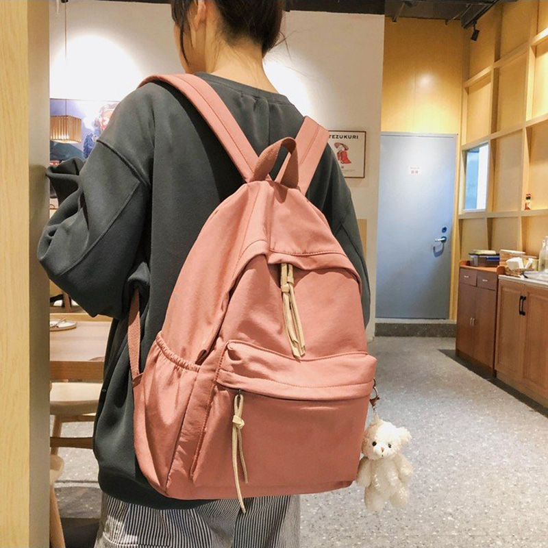 Waterproof Nylon Women Backpack Female Large Capacity High Schoolbag Korean Vintage Girl Shoulder Bags Travel Bag Mochila 0P07