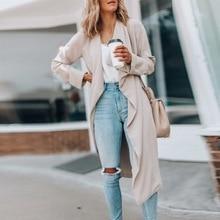 2020 Cardigan Coat Autumn Cotton Blends Pockets Long Sleeve Big Lapel Collar Slim Women Casual Long Overcoat Outerwear Jackets
