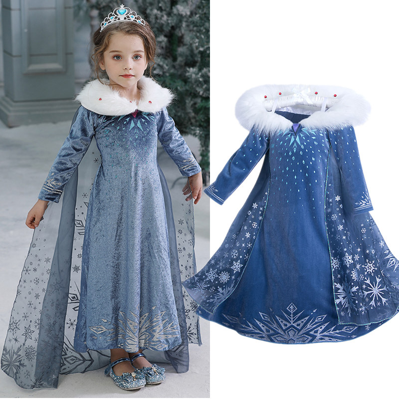 4-10 Years Fancy Cosplay Princess Dress Anna Elsa Kids Costume Snow Print Halloween Party Dress Vestidos Children Girls Clothing