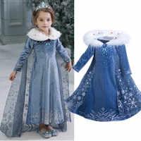 4-10 anos fantasia cosplay vestido de princesa anna elsa crianças traje neve impressão vestido de festa de halloween vestidos crianças meninas roupas