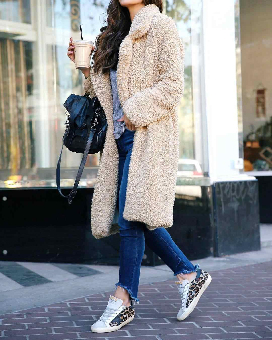 Winter Modis Women Teddy Bear Fur Coat Ladies Knee Long Jacket warm woolen blends Eleant Black Long Sleeve Coat Outwear