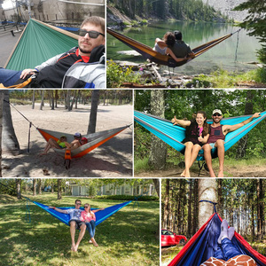 Image 5 - Portable Hammock Double Person Nylon Camping Hammock Survival Garden Hanging Sleeping Chair Travel Furniture Parachute Hammocks